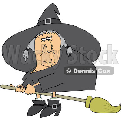 Clipart Mean Ugly Witch Flying On A Broom   Royalty Free Vector
