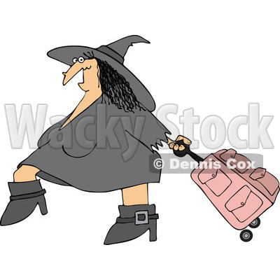 Clipart Of A Traveling Halloween Witch Pulling Pink Rolling Luggage