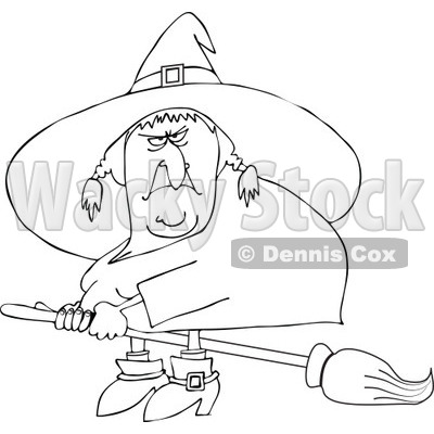 Clipart Outlined Mean Ugly Witch Flying On A Broom   Royalty Free
