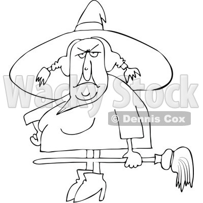 Clipart Outlined Ugly Witch Holding A Broom   Royalty Free Vector