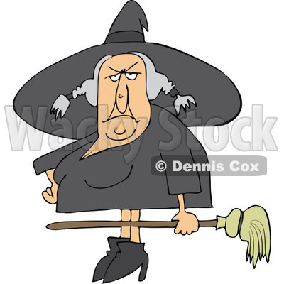 Clipart Ugly Witch Holding A Broom   Royalty Free Vector Illustration