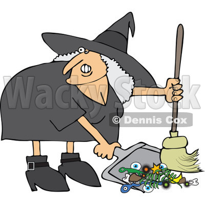 Clipart Ugly Witch Sweeping Up Spell Items With A Broom   Royalty Free