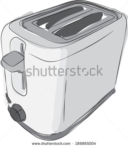 Drawing Of A Modern Two Slice Toaster  Vector Version    Stock Vector
