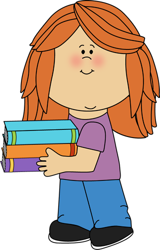 Girl Carrying School Books Clip Art   Little Girl Carrying School