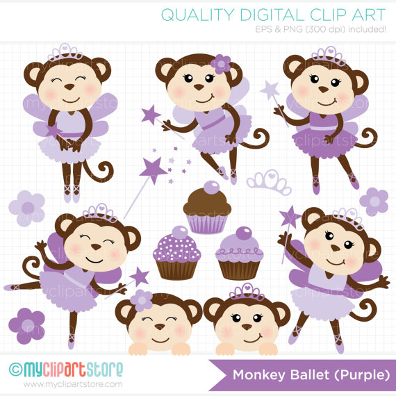 Girl Monkeys   Ballet   Tutu Clip Art   Digital Clipart   Instant