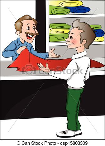 Illustration Of Clothes Shopkeeper Helping Customer To Choose Clothes