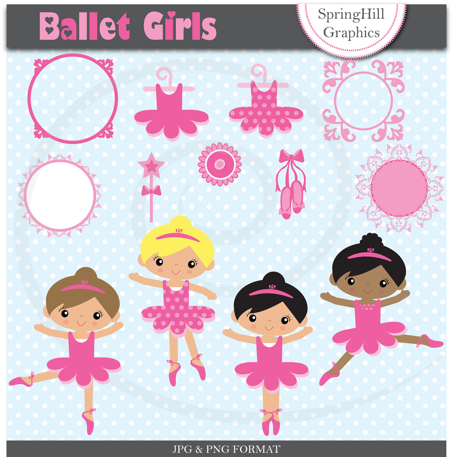 Instant Download Ballet Girls Digital Clip Art And Papers For Card