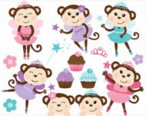 Monkey Ballerina   Girl Monkeys   Tutu Clip Art   Digital Clipart