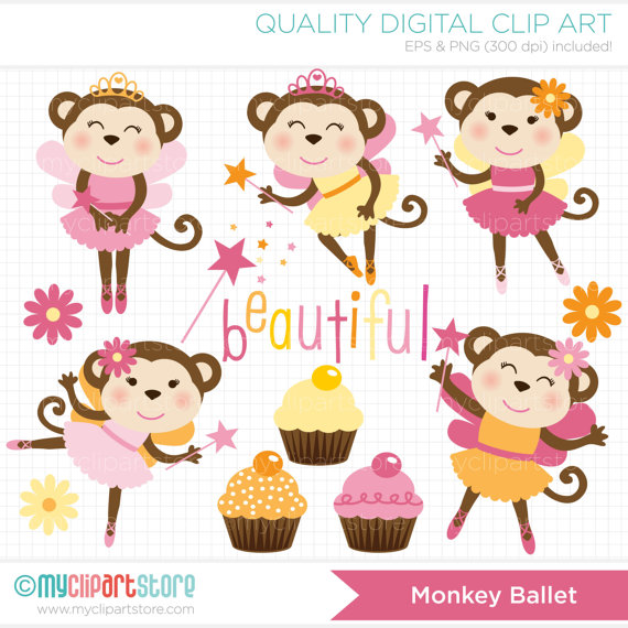 Monkey Ballet   Ballerina   Fairy Monkeys Clip Art   Digital Clipart
