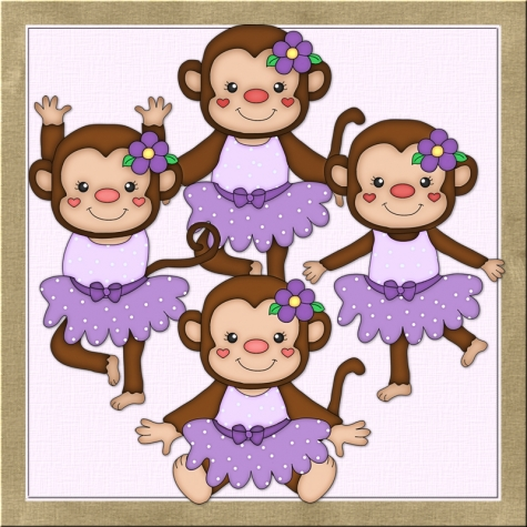 Monkeys Purple Clip Art Graphics By Resale Clipart    0 75   Graphics