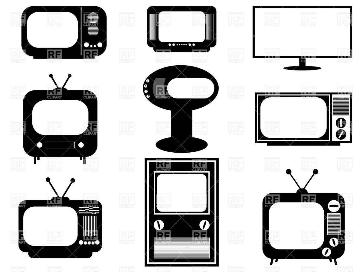 Retro And Modern Tv Sets 34704 Download Royalty Free Vector Clipart