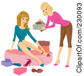 Royalty Free Rf Clipart Illustration Of A Woman Helping A Customer Try