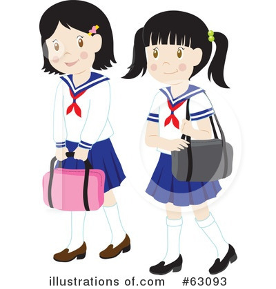 School Girls On School Girl Clipart 63093 By Rosie Piter Royalty Free
