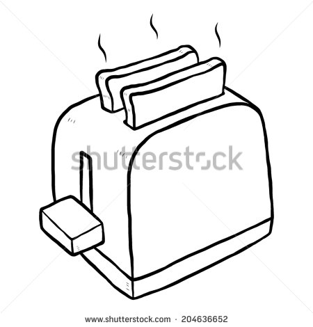 Toaster   Cartoon Vector And Illustration Black And White Hand Drawn