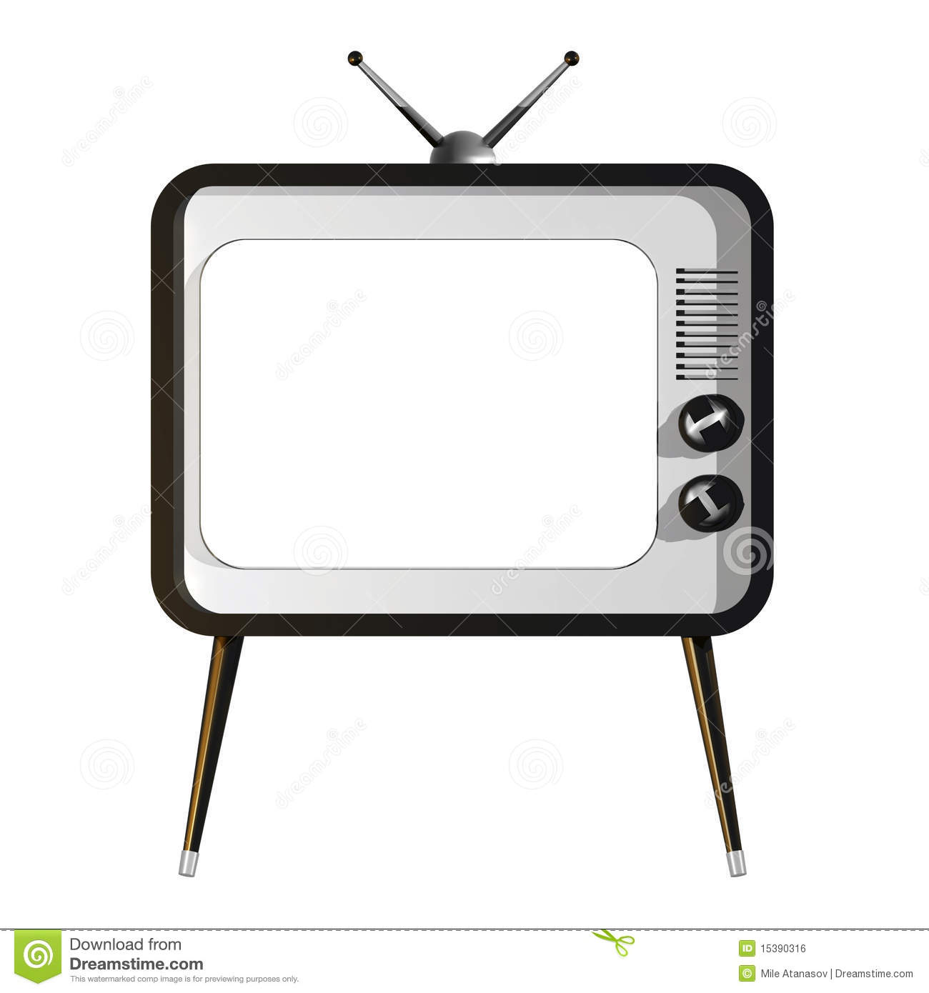 Tv With Empty Screen Royalty Free Stock Image   Image  15390316
