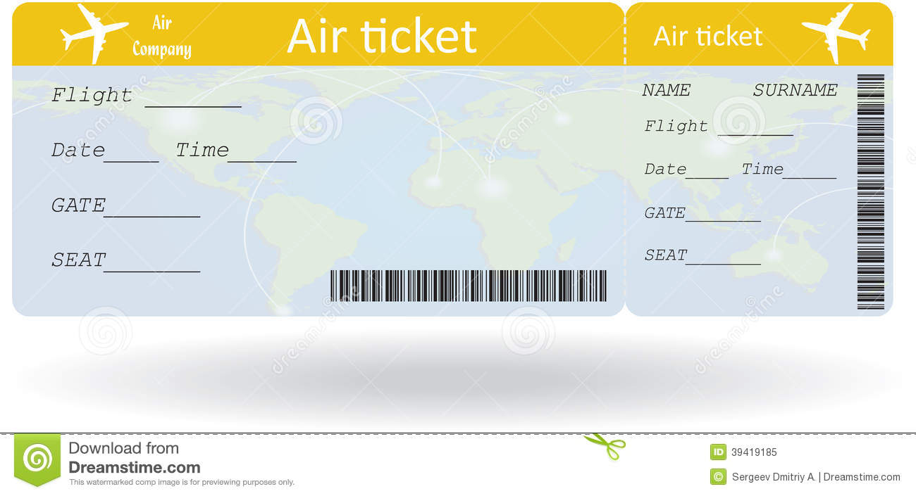 Variant Of Air Ticket On White Vector Illustration