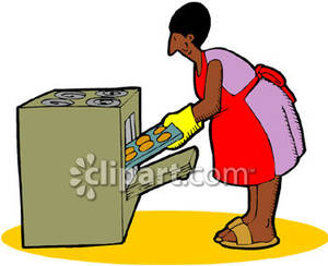 African American Woman Baking   Royalty Free Clipart Picture