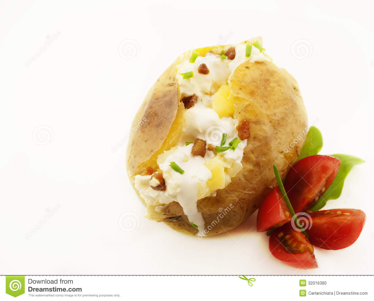 Baked Potato Isolated On White With Copy Space