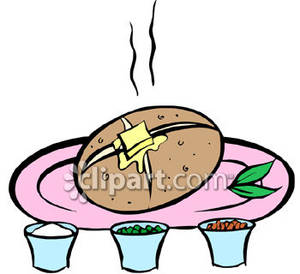 Baked Potato With Butter And Toppings   Royalty Free Clipart Picture