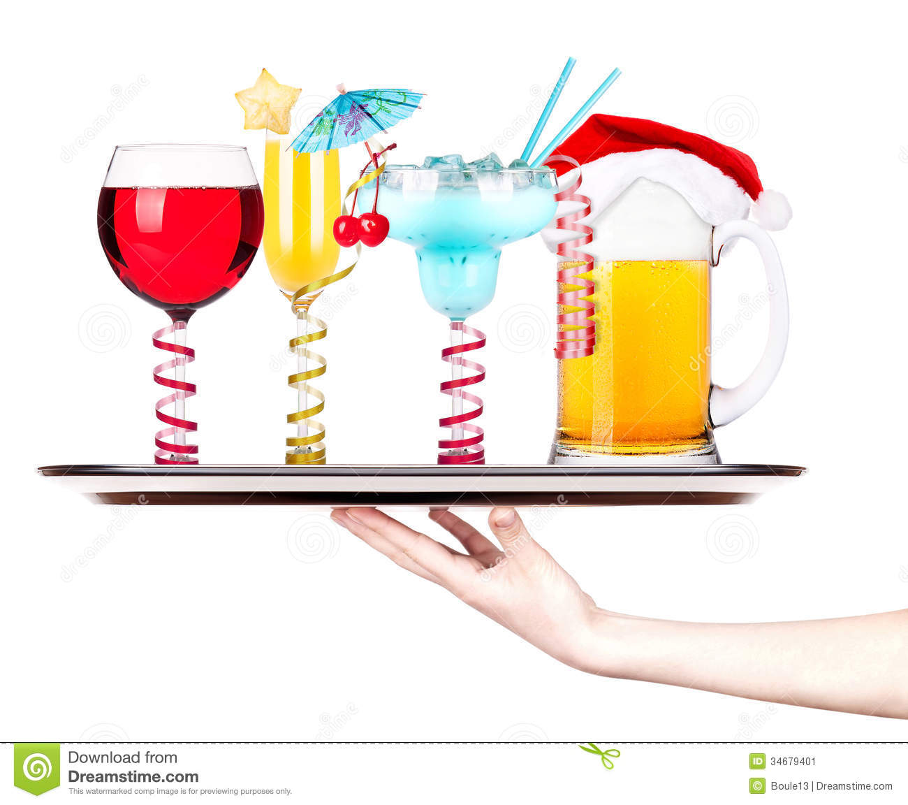 Beer With Cocktail On A Silver Waitress Tray Stock Image   Image