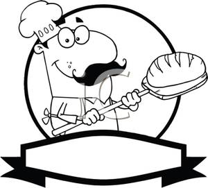 Black And White Cartoon Of Bread Baker   Royalty Free Clipart Picture