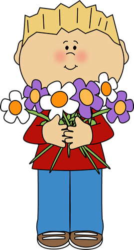 Bunch Of Flowers Clip Art Boy Holding A Bunch Of Flowers Image