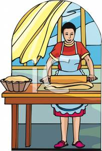 Cartoon Of A Housewife Baking Bread   Royalty Free Clipart Picture