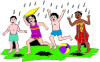 Children Playing In The Rain For Return Address Labels