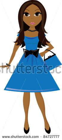 Clip Art Illustration Of A Young Brown Skinned Women Wearing A Party