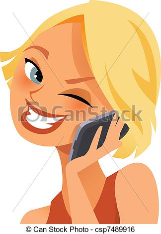 Clip Art Vector Of Happy On The Phone   Cute Young Woman Happy On The