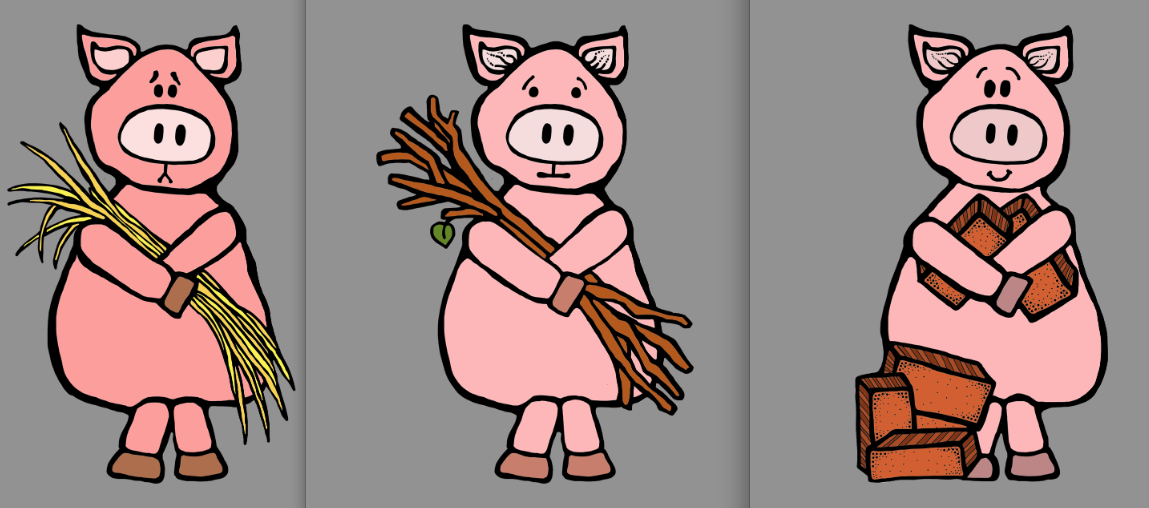 Three Little Pigs Clipart For The Three Little Pigs So I Made Three Piggies