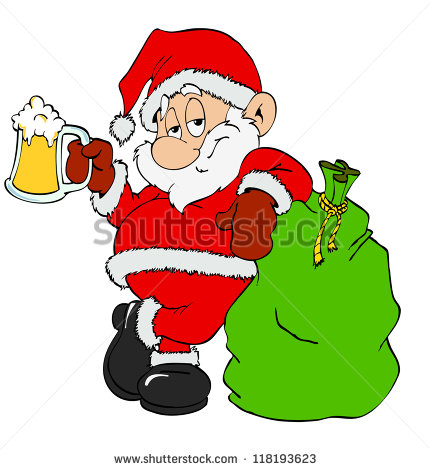 Hand Drawn Cartoon St Nick Santa Claus With Beer   Stock Photo