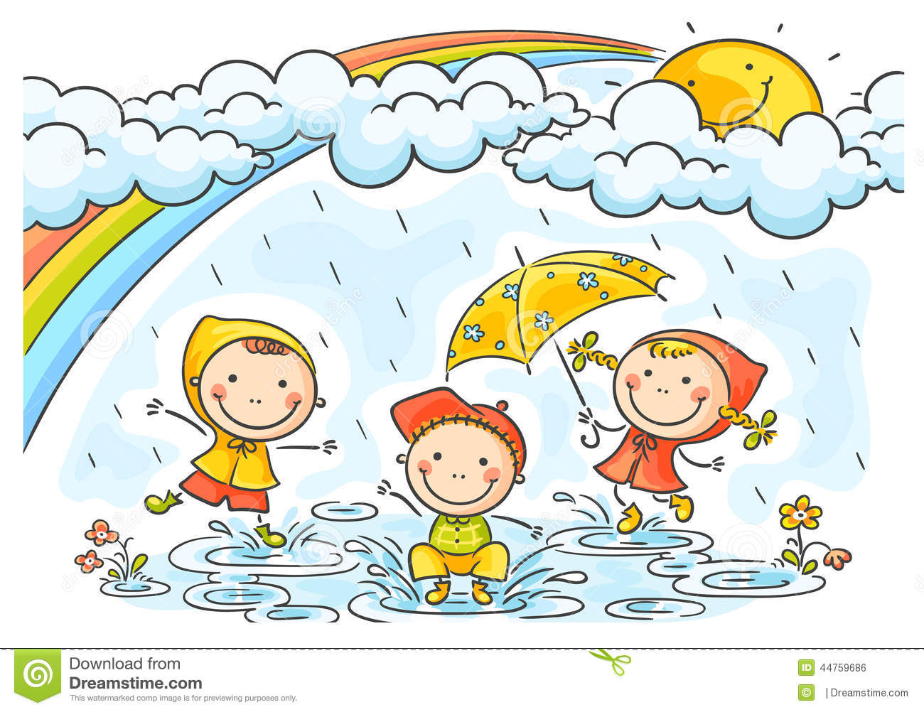 Playing In The Rain Clipart - Clipart Suggest