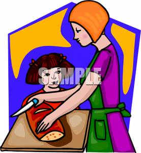Mother And Daughter Baking Bread   Royalty Free Clipart Picture
