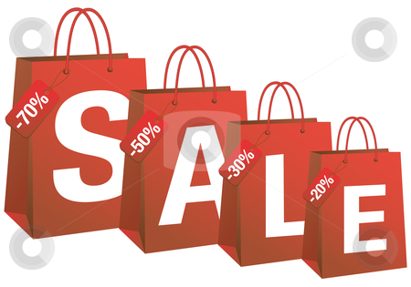 Sale With Red Shopping Bags Vector Stock Vector Clipart Sale With