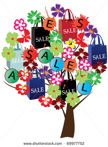 Shopping Sale Clip Art Vector Abstract Tree With Shopping Sale Bags
