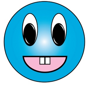 Smiley Clipart Image   Cartoon Aqua Smiley Face Character