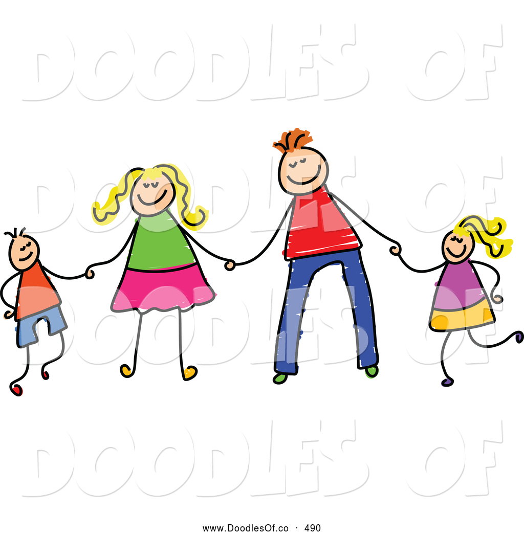 Stick Figure Family Clip Art Vector Clipart Of A Childs Sketch Stick