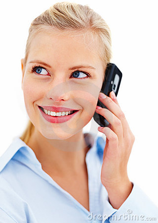 Stock Photo  Happy Young Lady Talking On Mobile Phone  Image  7523830