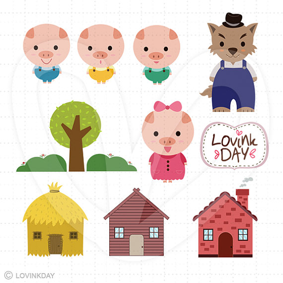 Three Little Pigs Clipart Three Little Pigs Clip Art Set D13014 By Lovinkday On Etsy