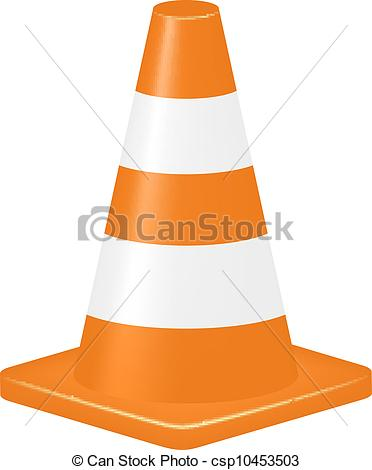 Vector Clipart Of Orange Traffic Cone Isolated On White Background