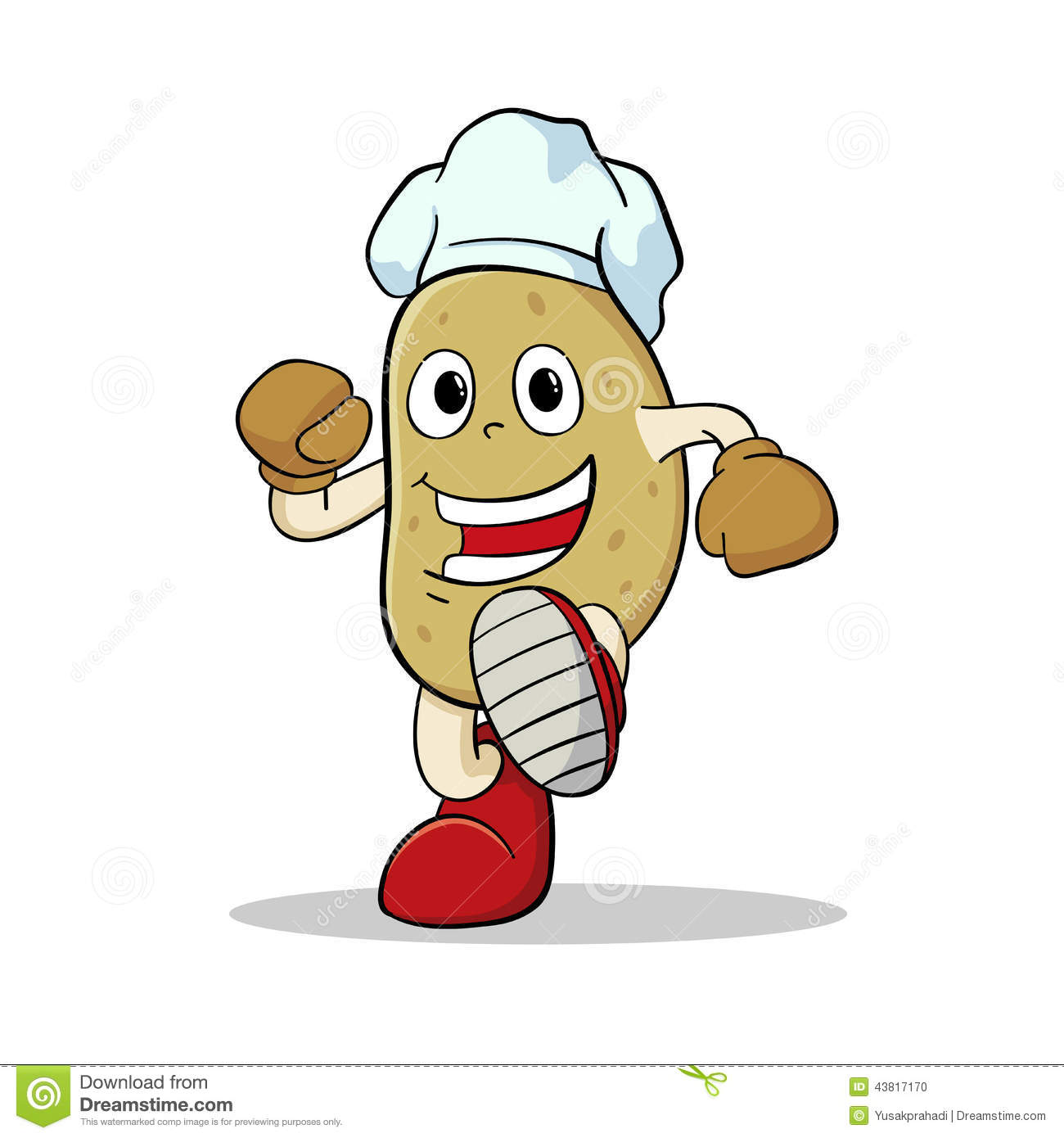Vector Illustration Of A Potato Character Wearing Chef S Hat