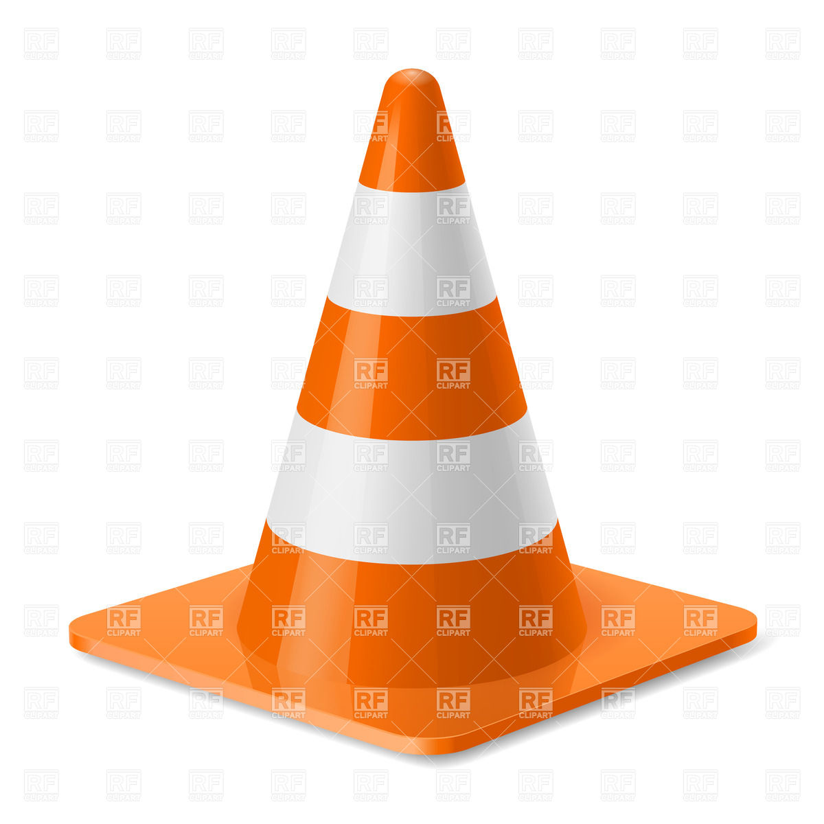 White And Orange Traffic Cone With Square Base Download Royalty Free