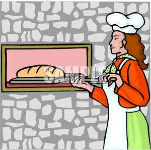 Woman Baking A Loaf Of Bread   Royalty Free Clipart Picture