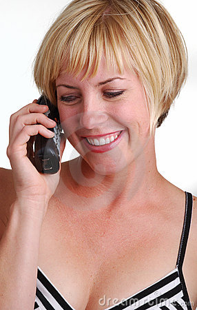 Young Blonde Lady Using Phone Stock Photography   Image  5209542