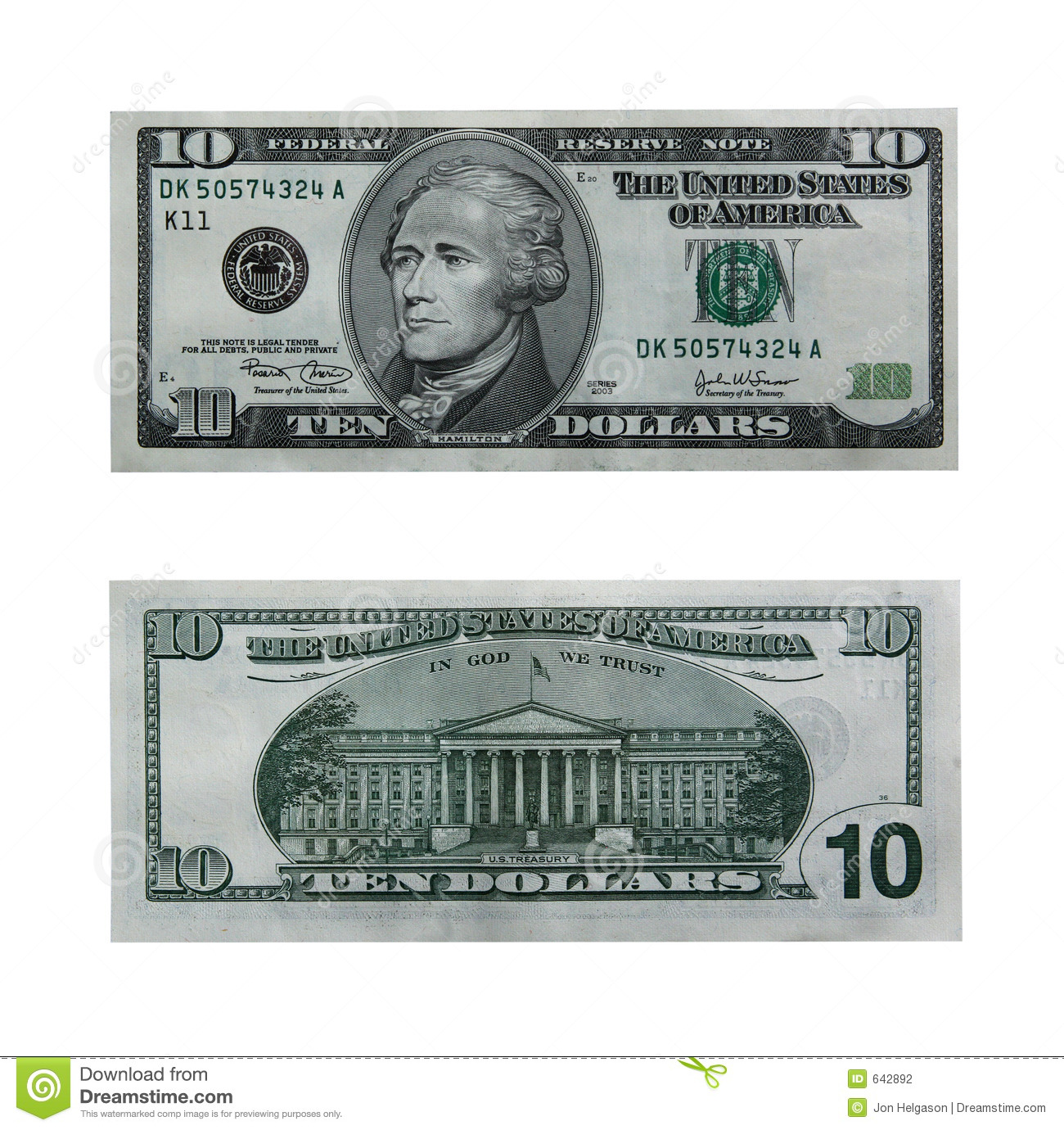 Both Sides Of The Ten Dollar Bill Isolated On White With Clipping Path