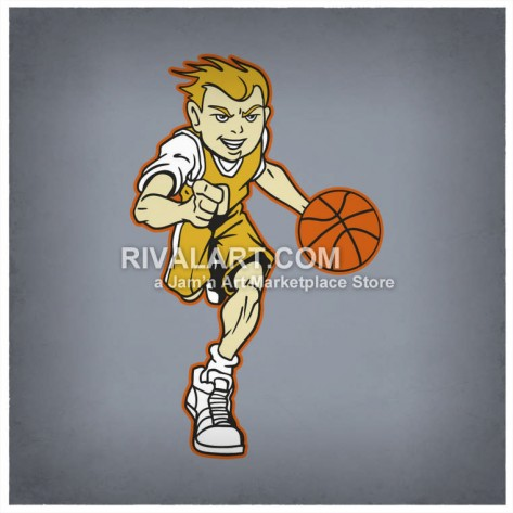 Clipart Of Boys Youth Basketball Team Player Dribbling Color Graphics