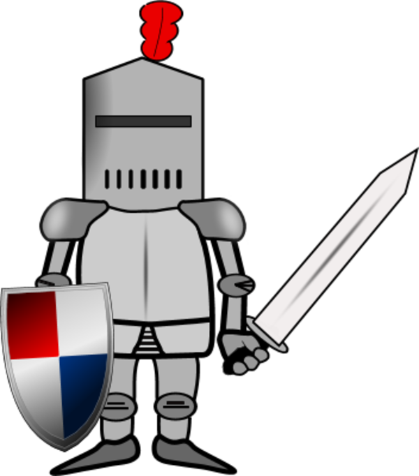 Comic Knight Or Soldier Holding A Sword And A Shield Vector Clip Art