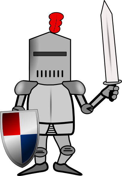 Knight In Armor With Shield And Sword Clip Art At Clker Com   Vector