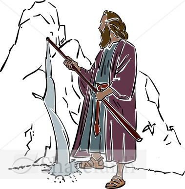 Moses Draws Water From The Rock   Moses Clipart